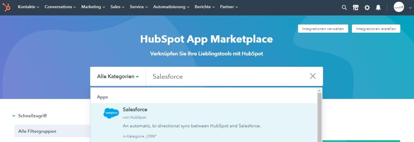 HubSpot Integration mit WordPress, Typo3, Salesforce, Zapier - summ-it Unternehmensberatung