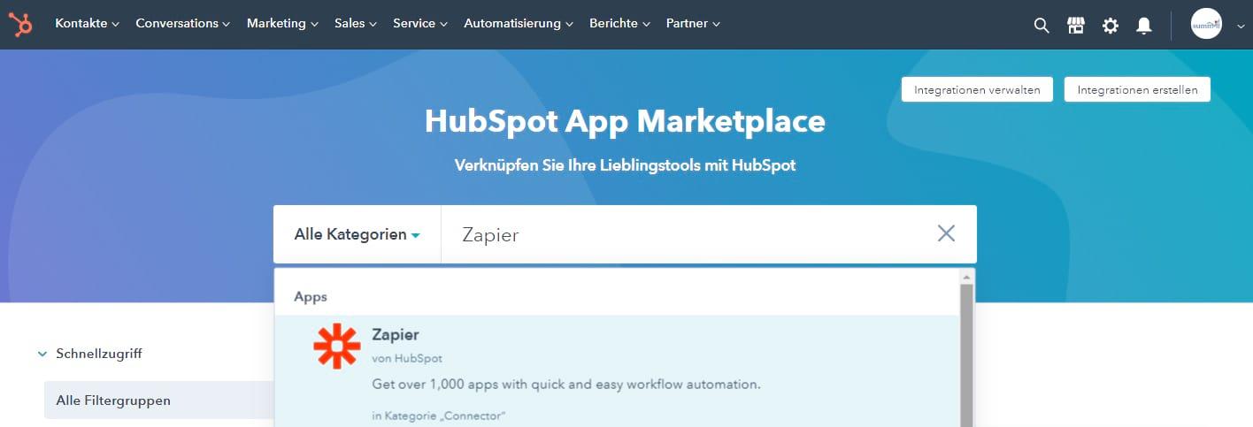 HubSpot Integration mit Salesforce - Konnektor aus dem HubSpot Marketplace auswählen.
