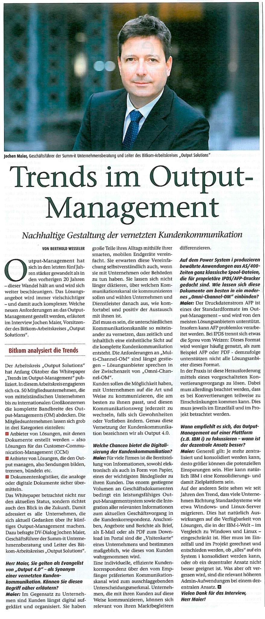 Output Management Studie - summ-it Unternehmensberatung