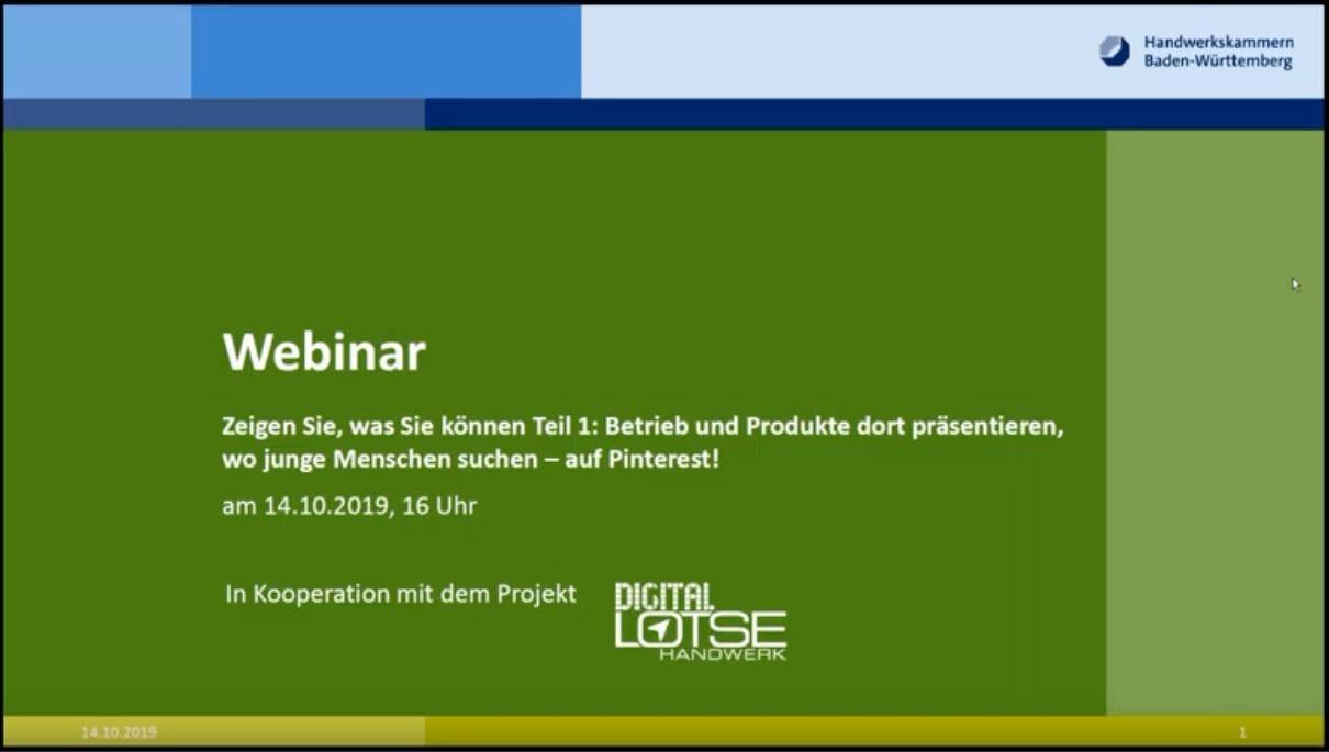 Pinterest Webinar in Kooperation mit Digitallotse Baden-Württemberg - summ-it Unternehmensberatung