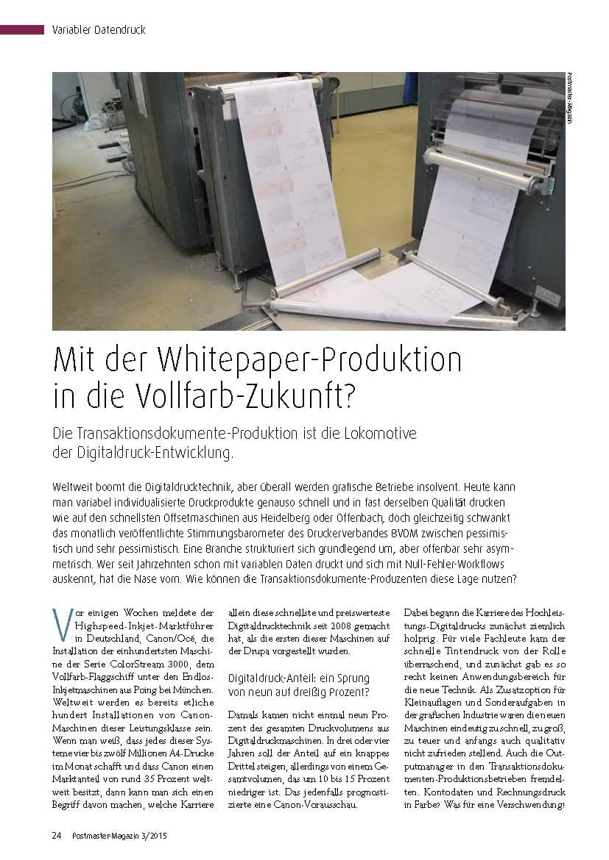 Mit White Paper Production in die Vollfarb Zukunft - summ-it Unternehmensberatung